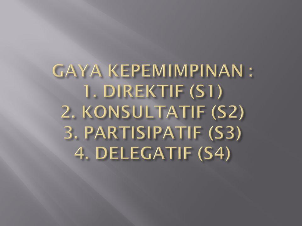 GAYA KEPEMIMPINAN : 1. DIREKTIF (S1) 2. KONSULTATIF (S2) 3