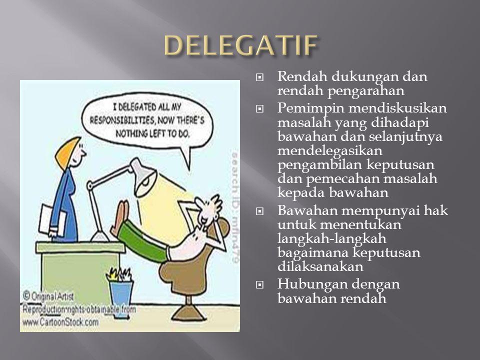 DELEGATIF Rendah dukungan dan rendah pengarahan