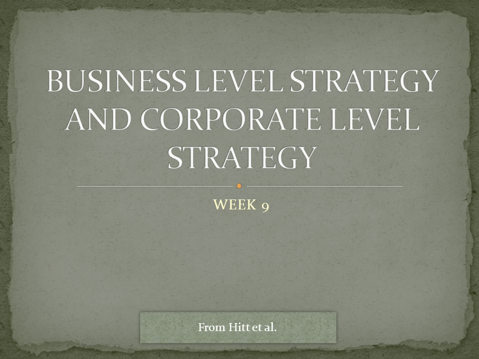BUSINESS LEVEL STRATEGY AND CORPORATE LEVEL STRATEGY