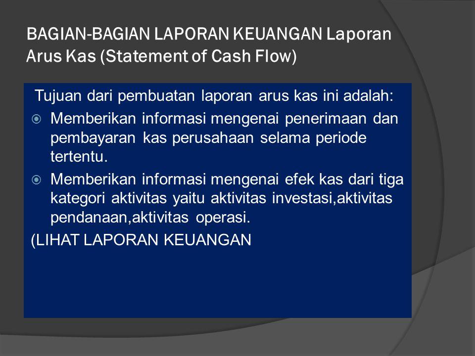 BAGIAN-BAGIAN LAPORAN KEUANGAN Laporan Arus Kas (Statement of Cash Flow)