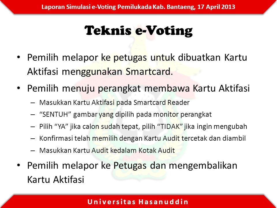 Teknis e-Voting Pemilih melapor ke petugas untuk dibuatkan Kartu Aktifasi menggunakan Smartcard. Pemilih menuju perangkat membawa Kartu Aktifasi.