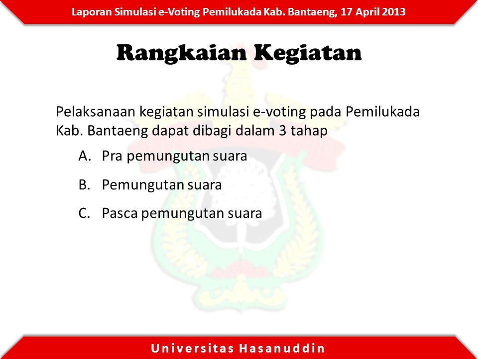Rangkaian Kegiatan Pelaksanaan kegiatan simulasi e-voting pada Pemilukada Kab. Bantaeng dapat dibagi dalam 3 tahap.