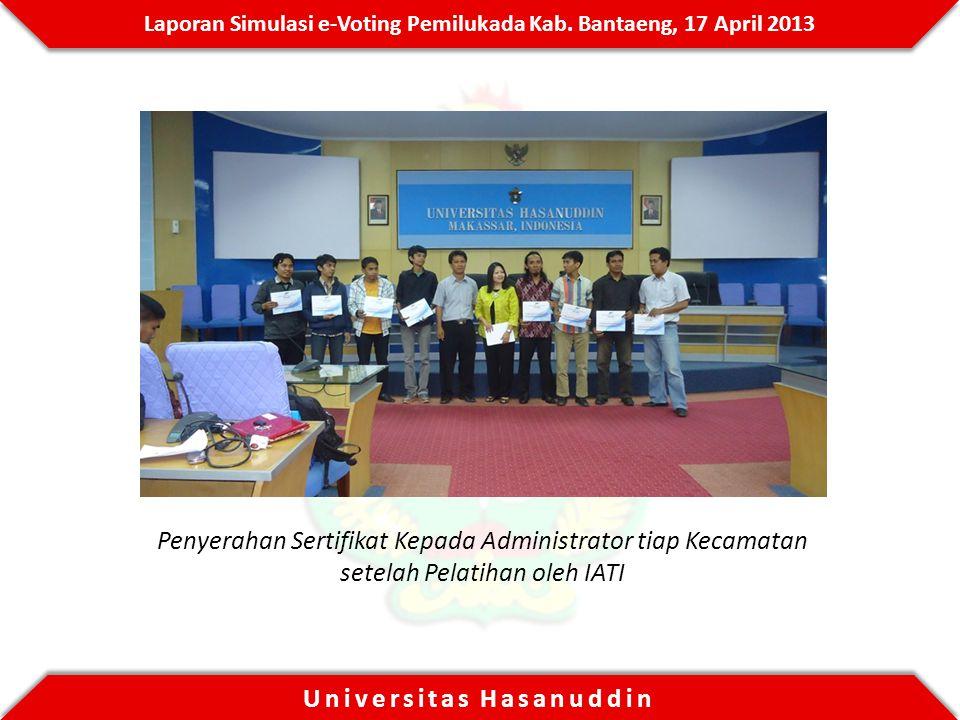 Penyerahan Sertifikat Kepada Administrator tiap Kecamatan setelah Pelatihan oleh IATI