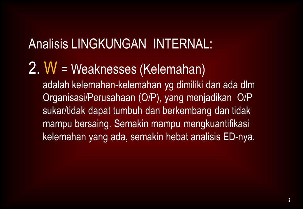 2. W = Weaknesses (Kelemahan)
