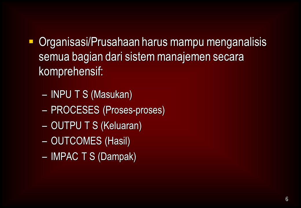 Organisasi/Prusahaan harus mampu menganalisis semua bagian dari sistem manajemen secara komprehensif: