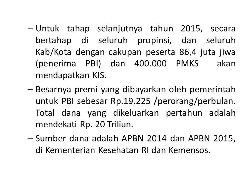 Untuk tahap selanjutnya tahun 2015, secara bertahap di seluruh propinsi, dan seluruh Kab/Kota dengan cakupan peserta 86,4 juta jiwa (penerima PBI) dan 400.000 PMKS akan mendapatkan KIS.