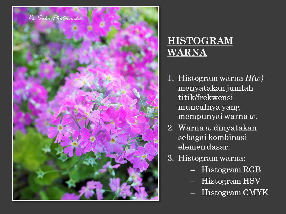 HISTOGRAM WARNA Histogram warna H(w) menyatakan jumlah titik/frekwensi munculnya yang mempunyai warna w.