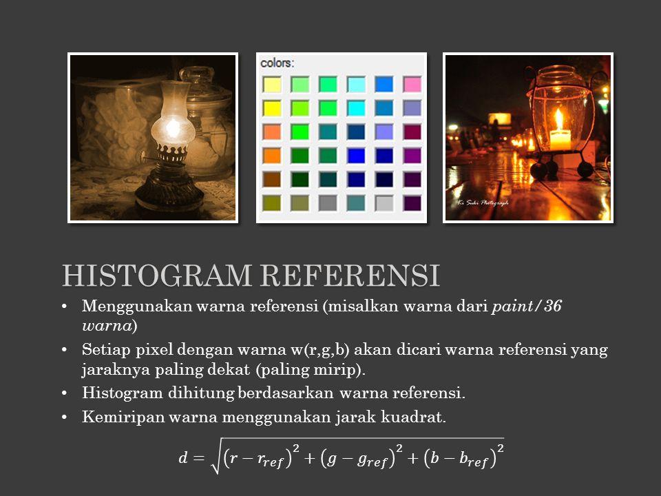 Histogram Referensi Menggunakan warna referensi (misalkan warna dari paint/36 warna)