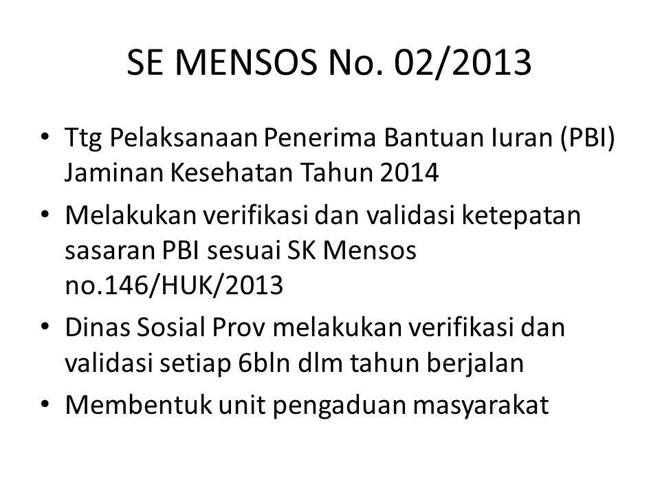 SE MENSOS No. 02/2013 Ttg Pelaksanaan Penerima Bantuan Iuran (PBI) Jaminan Kesehatan Tahun 2014.