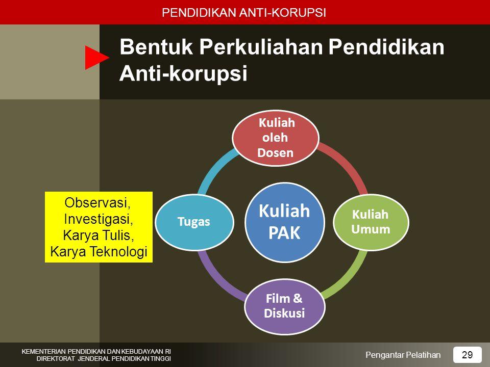 Bentuk Perkuliahan Pendidikan Anti-korupsi