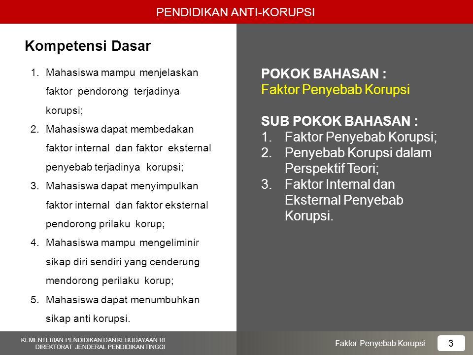 Kompetensi Dasar POKOK BAHASAN : Faktor Penyebab Korupsi