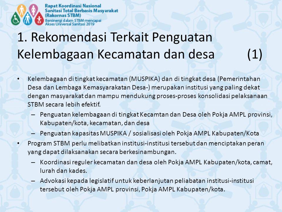 1. Rekomendasi Terkait Penguatan Kelembagaan Kecamatan dan desa (1)