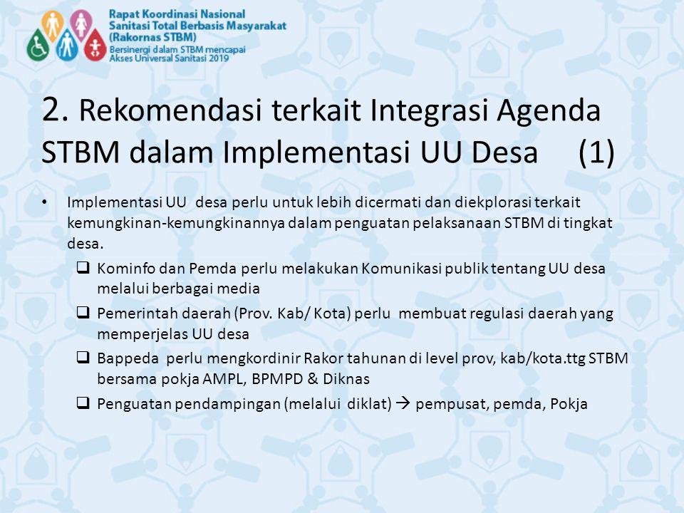 2. Rekomendasi terkait Integrasi Agenda STBM dalam Implementasi UU Desa (1)