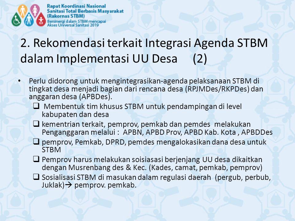 2. Rekomendasi terkait Integrasi Agenda STBM dalam Implementasi UU Desa (2)