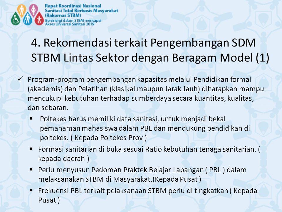 4. Rekomendasi terkait Pengembangan SDM STBM Lintas Sektor dengan Beragam Model (1)
