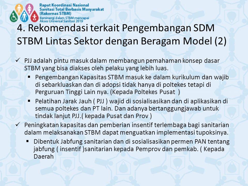 4. Rekomendasi terkait Pengembangan SDM STBM Lintas Sektor dengan Beragam Model (2)