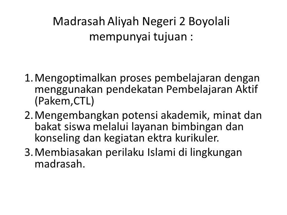 Madrasah Aliyah Negeri 2 Boyolali mempunyai tujuan :