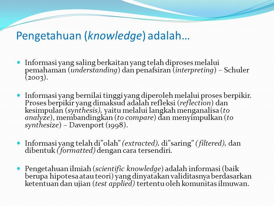 Pengetahuan (knowledge) adalah…