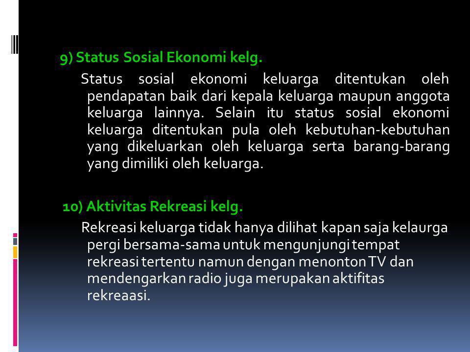 9) Status Sosial Ekonomi kelg