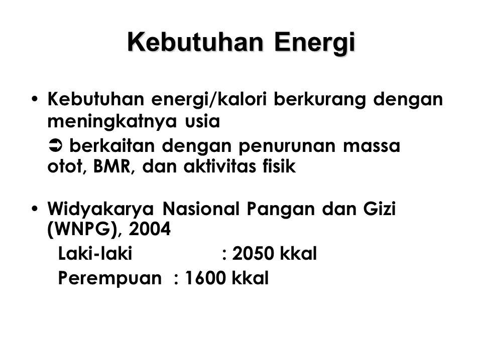 Kebutuhan Energi Kebutuhan energi/kalori berkurang dengan meningkatnya usia.  berkaitan dengan penurunan massa otot, BMR, dan aktivitas fisik.