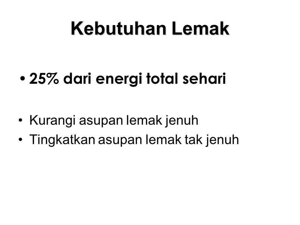 Kebutuhan Lemak 25% dari energi total sehari