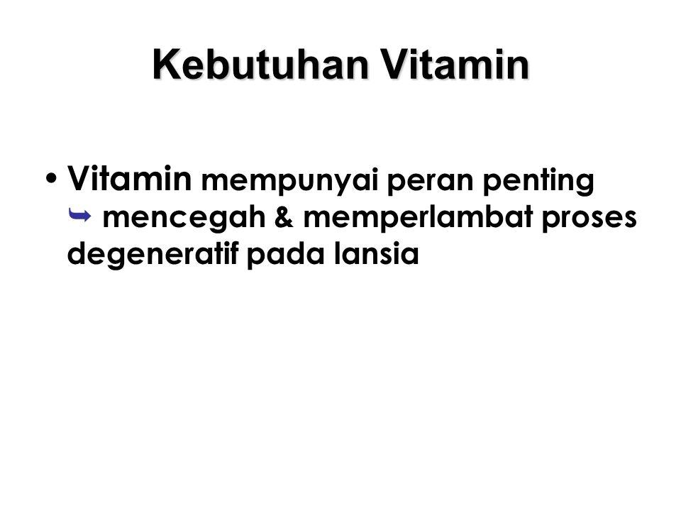 Kebutuhan Vitamin Vitamin mempunyai peran penting  mencegah & memperlambat proses degeneratif pada lansia.