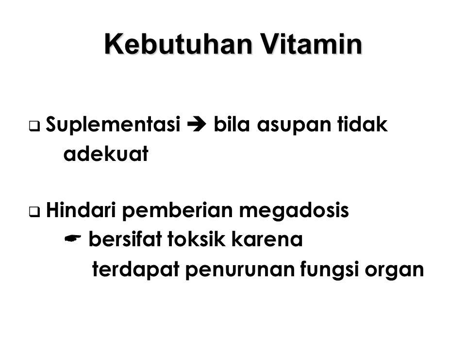 Kebutuhan Vitamin Suplementasi  bila asupan tidak adekuat