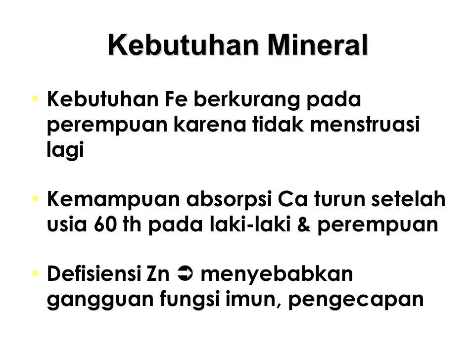 Kebutuhan Mineral Kebutuhan Fe berkurang pada perempuan karena tidak menstruasi lagi.