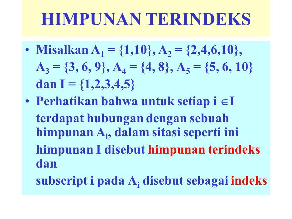 HIMPUNAN TERINDEKS Misalkan A1 = {1,10}, A2 = {2,4,6,10},