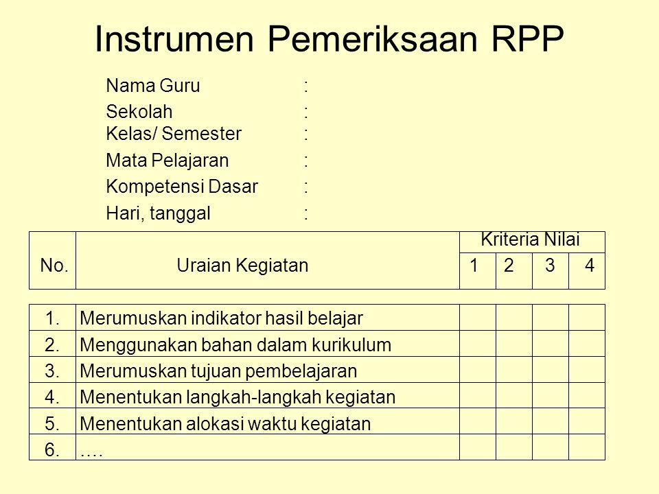 Instrumen Pemeriksaan RPP
