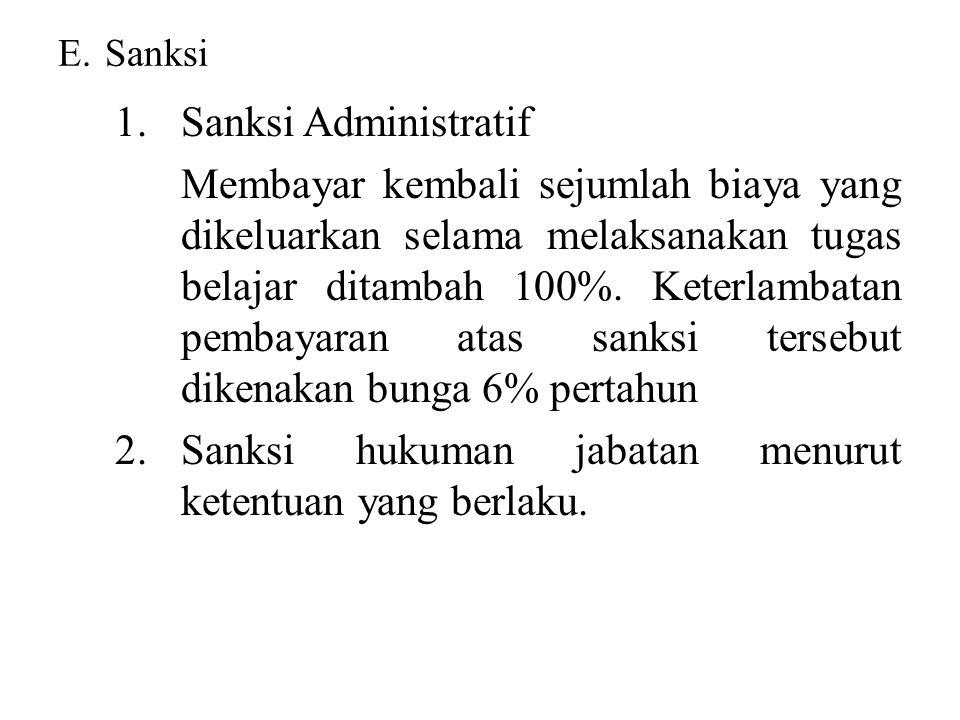2. Sanksi hukuman jabatan menurut ketentuan yang berlaku.