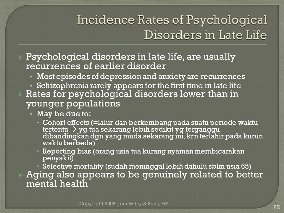 Incidence Rates of Psychological Disorders in Late Life