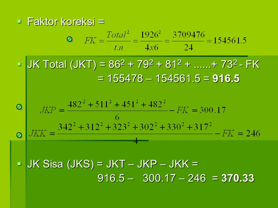 Faktor koreksi = JK Total (JKT) = 862 + 792 + 812 + ......+ 732 - FK. = 155478 – 154561.5 = 916.5.
