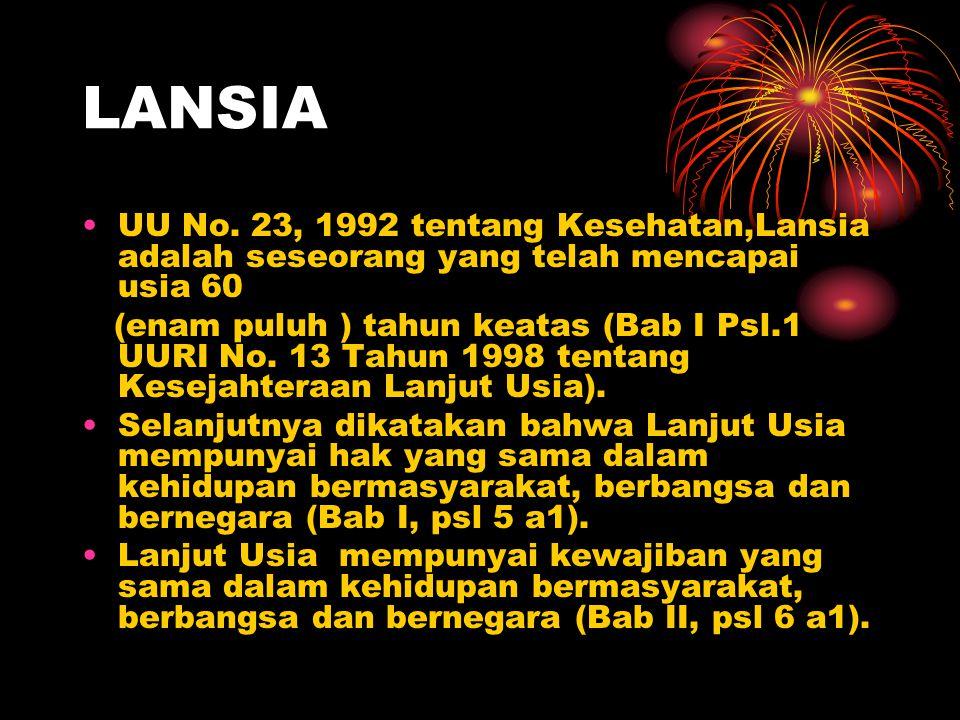 LANSIA UU No. 23, 1992 tentang Kesehatan,Lansia adalah seseorang yang telah mencapai usia 60.