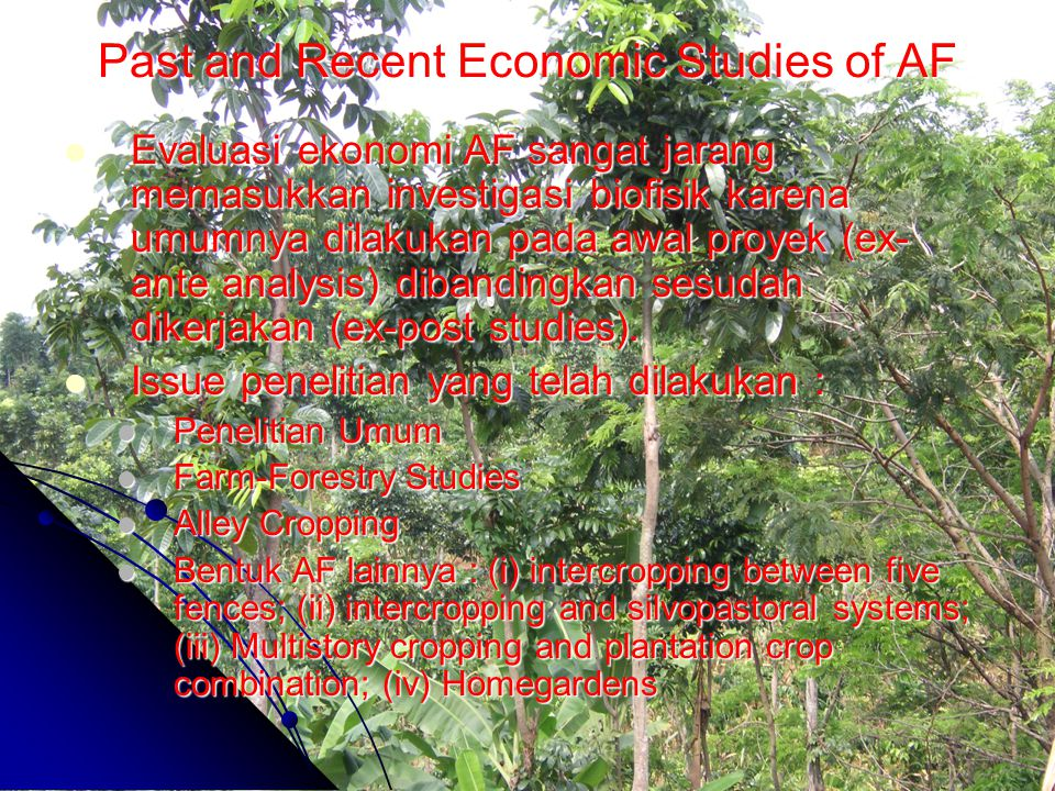 Past and Recent Economic Studies of AF