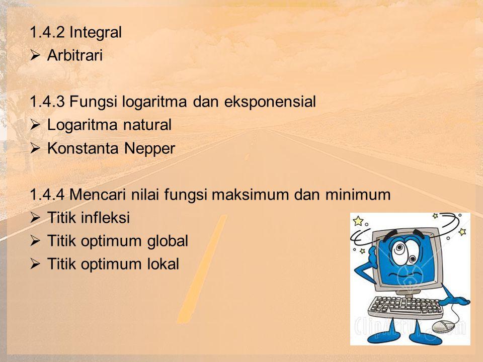 1.4.2 Integral Arbitrari. 1.4.3 Fungsi logaritma dan eksponensial. Logaritma natural. Konstanta Nepper.
