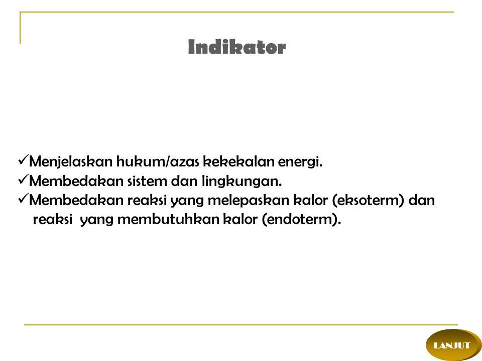 Indikator Menjelaskan hukum/azas kekekalan energi.