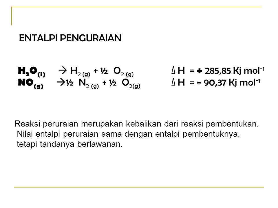 H2O(l)  H2 (g) + ½ O2 (g) ∆ H = + 285,85 Kj mol-1