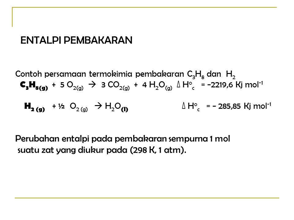 ENTALPI PEMBAKARAN Perubahan entalpi pada pembakaran sempurna 1 mol