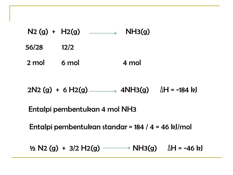 2N2 (g) + 6 H2(g) 4NH3(g) ∆H = -184 kJ