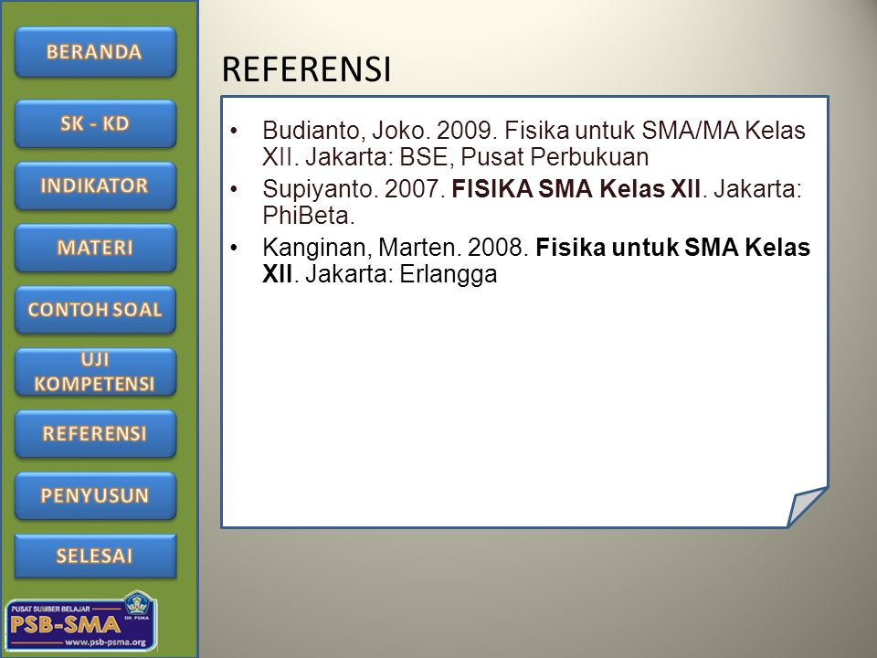 REFERENSI Budianto, Joko. 2009. Fisika untuk SMA/MA Kelas XII. Jakarta: BSE, Pusat Perbukuan.