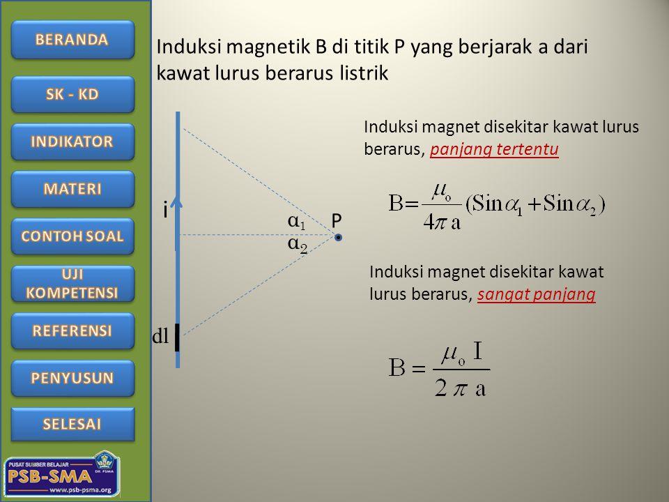 Induksi magnetik B di titik P yang berjarak a dari kawat lurus berarus listrik