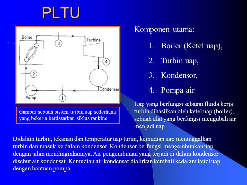 PLTU Komponen utama: Boiler (Ketel uap), Turbin uap, Kondensor,