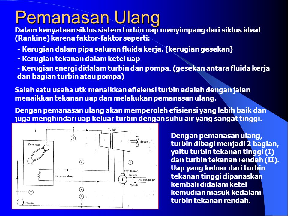 Pemanasan Ulang Dalam kenyataan siklus sistem turbin uap menyimpang dari siklus ideal (Rankine) karena faktor-faktor seperti: