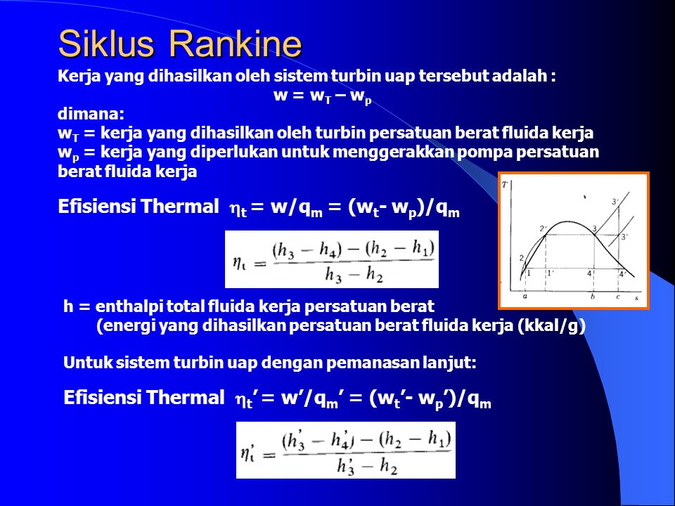 Siklus Rankine Efisiensi Thermal t = w/qm = (wt- wp)/qm