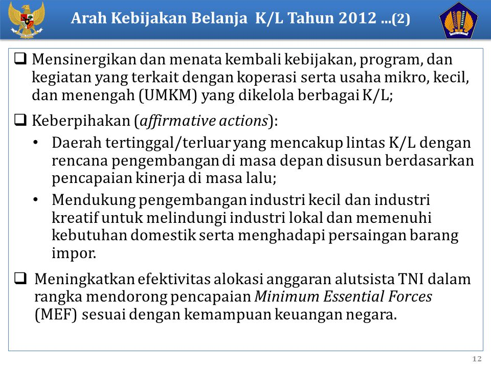 Arah Kebijakan Belanja K/L Tahun 2012 ...(2)