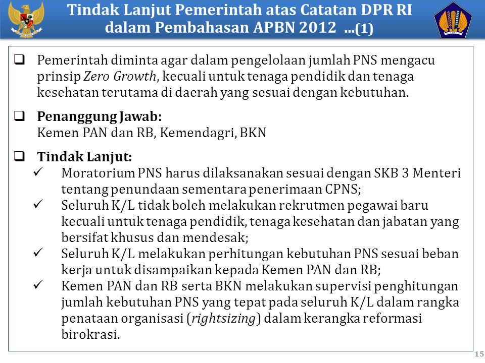 Tindak Lanjut Pemerintah atas Catatan DPR RI dalam Pembahasan APBN 2012 ...(1)