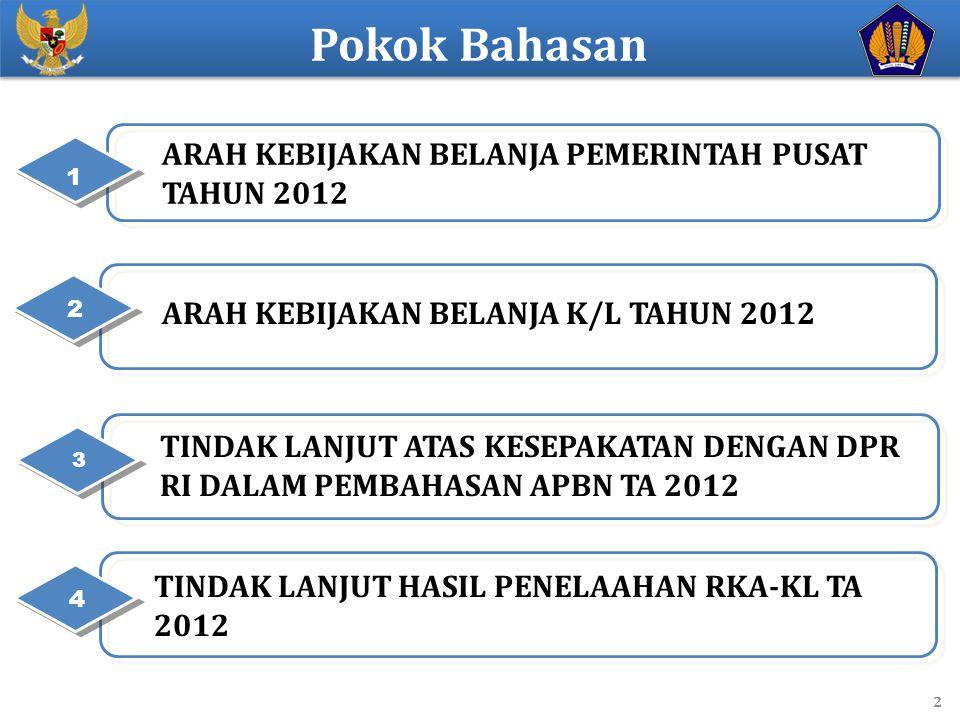 Pokok Bahasan ARAH KEBIJAKAN BELANJA PEMERINTAH PUSAT TAHUN 2012
