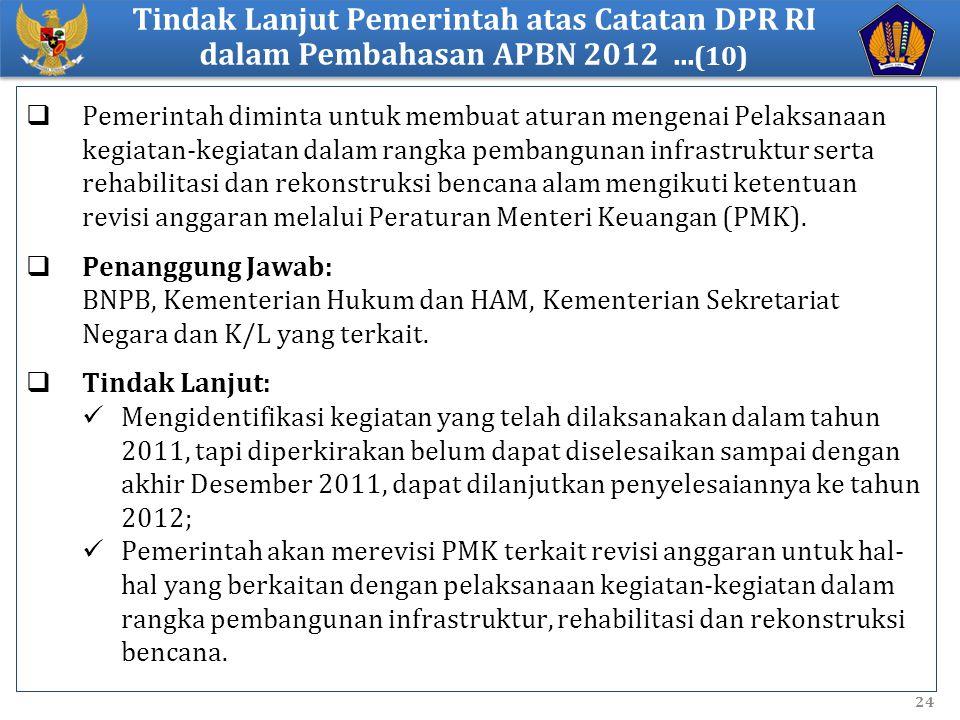 Tindak Lanjut Pemerintah atas Catatan DPR RI dalam Pembahasan APBN 2012 ...(10)