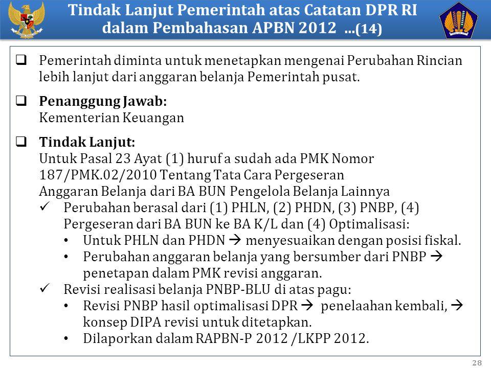 Tindak Lanjut Pemerintah atas Catatan DPR RI dalam Pembahasan APBN 2012 ...(14)
